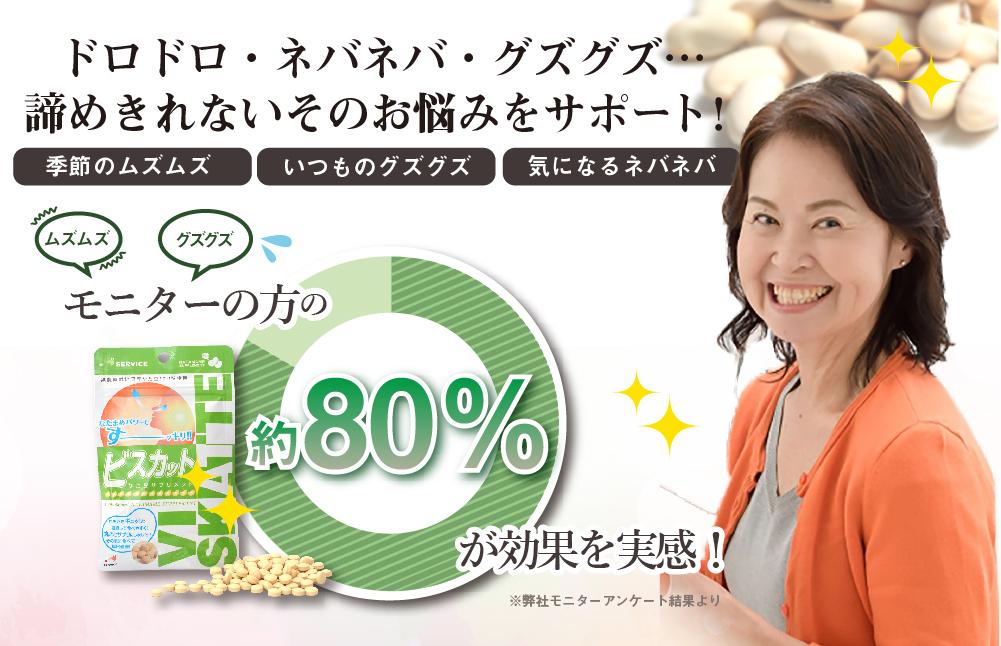 ドロドロ・ネバネバ・グズグズ…諦め切れないそのお悩みをサポート!【季節のムズムズ・いつものグズグズ・気になるネバネバ】モニターの方の80%が効果を実感!なた豆サプリビスカット